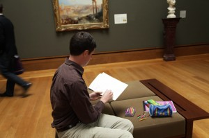 William Zaluski sketching J.M.W. Turner&#039;s Modern Rome at the Getty Center