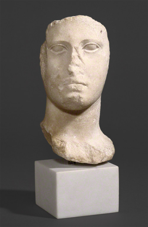 Head from an acrolithic statue / Greek