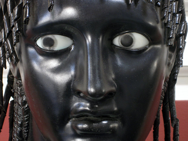 Close-up of eyes on Chiurazzi bronze replica in the Atrium at the Getty Villa