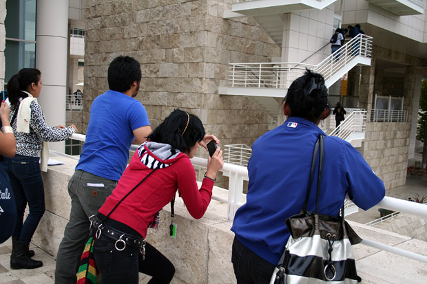 High school students photograph the Getty Center as part of Community Photoworks on October 25, 2011