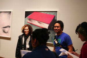 Eileen Cowin with students in the galleries of the J. Paul Getty Museum at the Getty Center