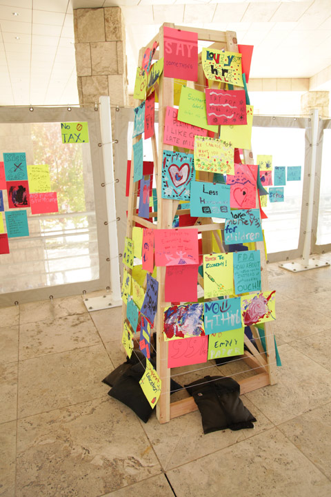 Communal recreation of the Peace Tower at the Getty Center Family Festival