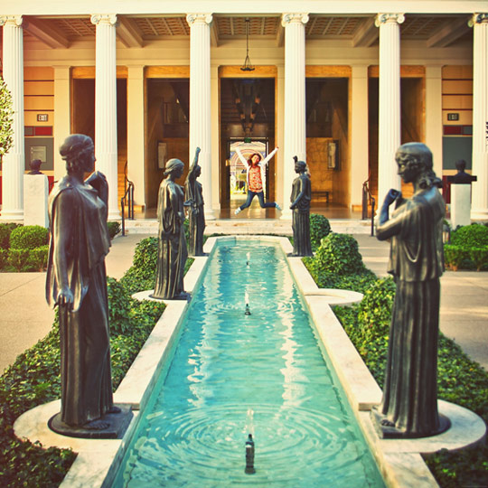 Jumping for joy at the Getty Villa. Photo: Ginny Le