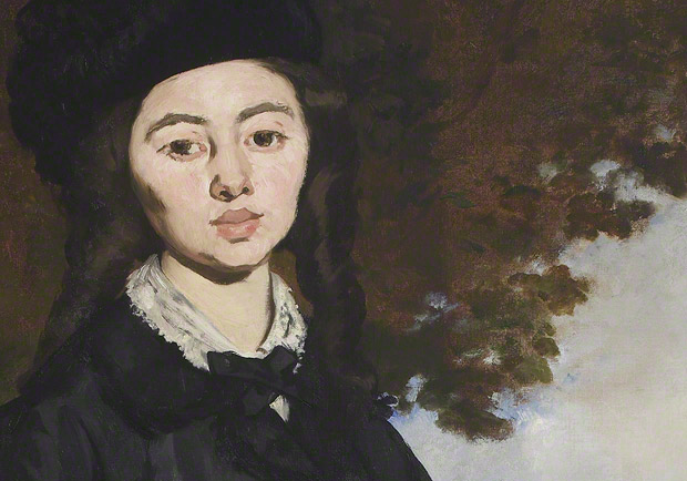 Detail of sitter's face in Portrait of Madame Brunet / Edouard Manet