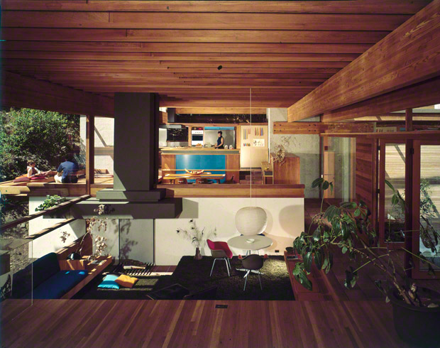 Kappe residence (interior), Pacific Palisades, California. Ray Kappe, architect. Photo: Julius Shulman