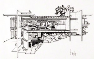 Architectural rendering of the Kappe residence. Ray Kappe papers, drawings, and models. The Getty Research Institute, 2008.M.36