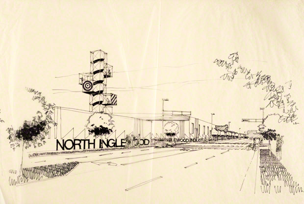 Architectural rendering of the North Inglewood Building, Inglewood, California, about 1980. Ray Kappe, architect