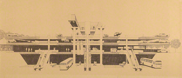 L.A. people mover at bus intercept and parking garage. Kahn, Kappe, Lotery &amp; Boccato, architects