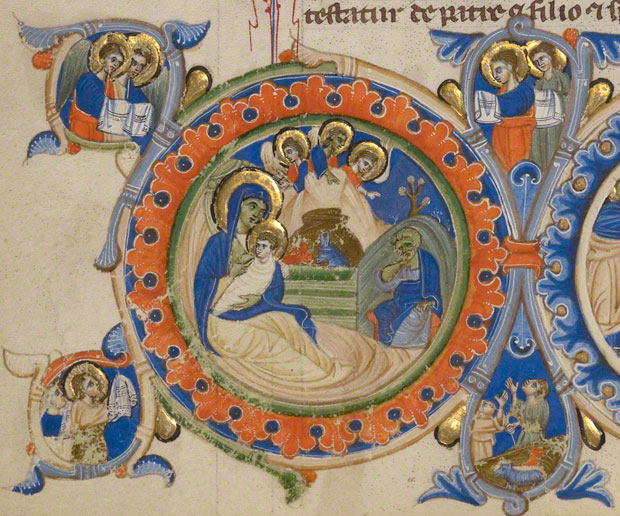 A nativity scene in the Abbey Bible / Italian