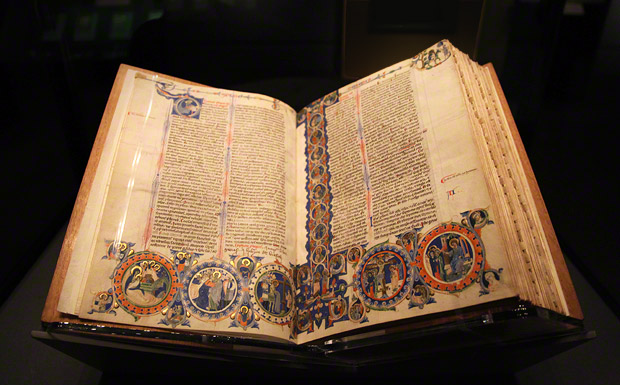 "The Abbey Bible open to folios 3v and 4 in the gallery of ""Gothic Grandeur"" at the Getty Center"