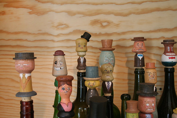 Detail of bottle stoppers in Mathis Collins's 2011 sculpture The General Assembly