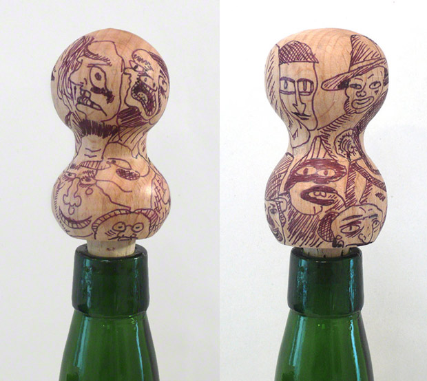 Two bottle stoppers from Vive L.A Social, Mathis Collins, 2011