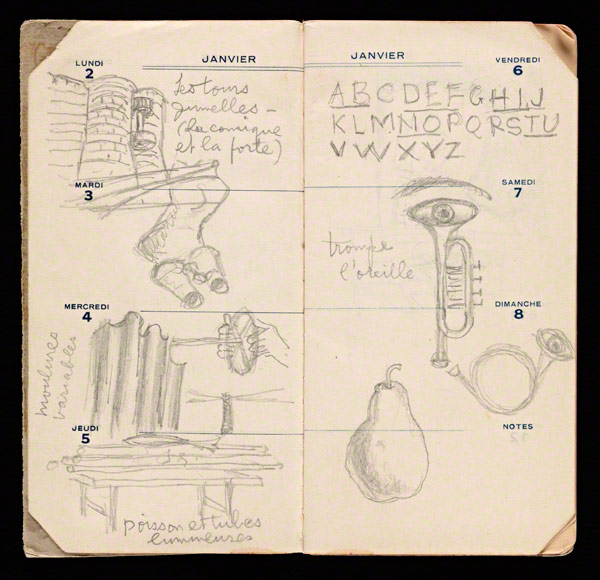 A page from Man Ray&#039;s 1939 datebook (January 2-8) with notes and sketches