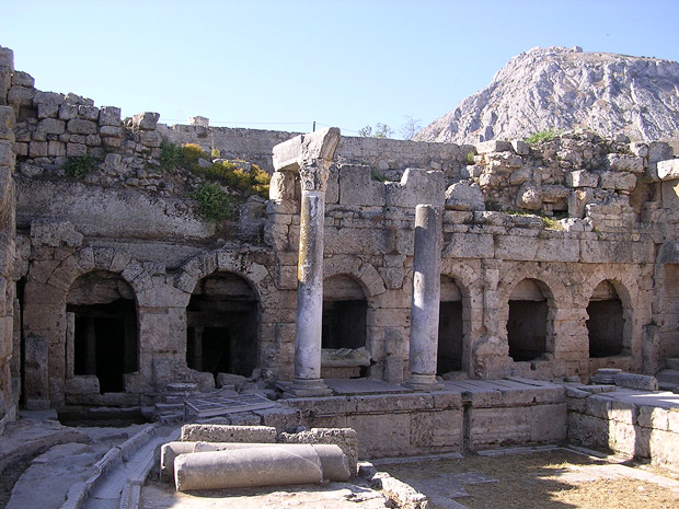 Peirene: General view of the spring facade, with Acrocorinth in the background