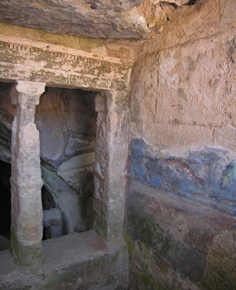 Peirene: Interior view of Chamber IV showing (on the wall at right) remains of a fresco depicting water and sea creatures