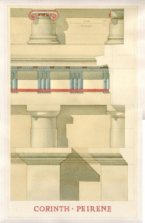 Peirene: Watercolor rendering showing a hypothetical reconstruction of the polychromy that would likely have been applied to the spring facade