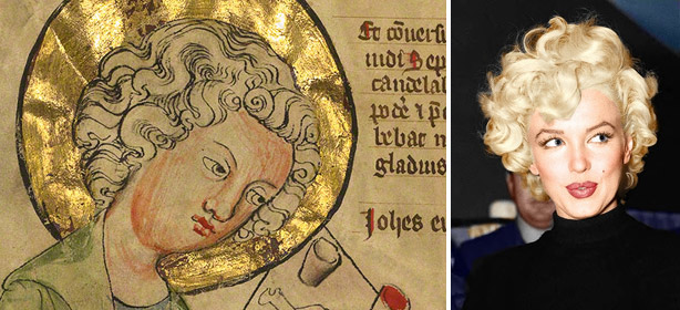 Pincurls: Saint John the Evangelist writing from a medieval manuscript and Marilyn Monroe