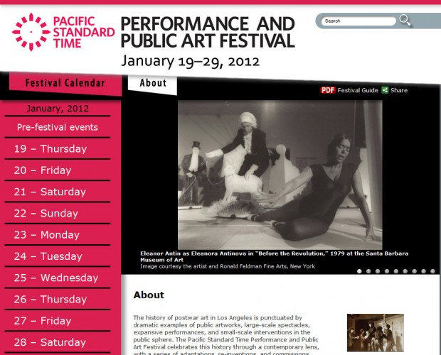 Pacific Standard Time Performance and Public Art Festival website