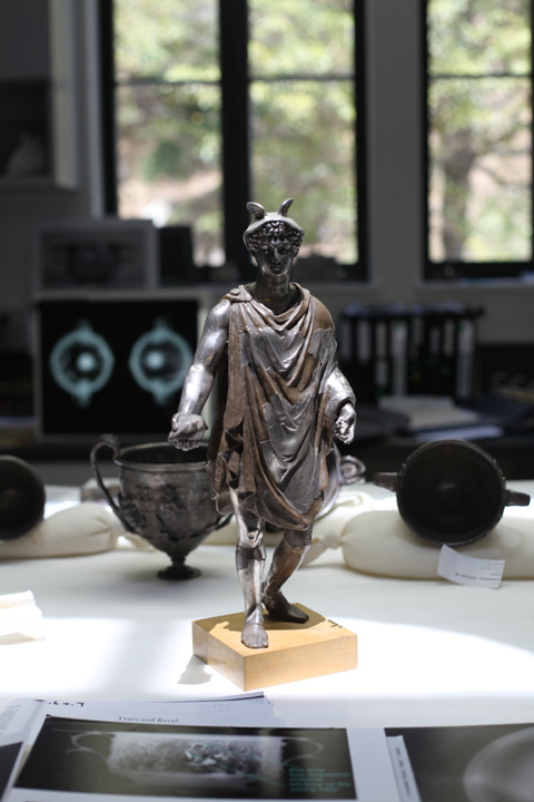 Statuette of Mercury from the Berthouville Treasure in the antiquities conservation studios at the Getty Villa