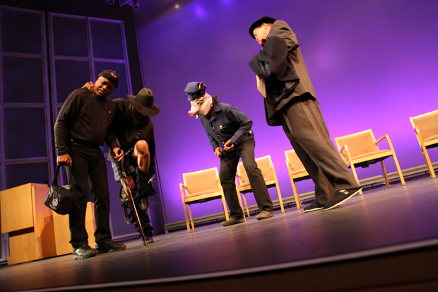 "Larry Broussard, DaShell Hart, Ed Bereal (in pig mask), and Bobby Farlice rehearse ""Killer Joe"" at the Getty Center"