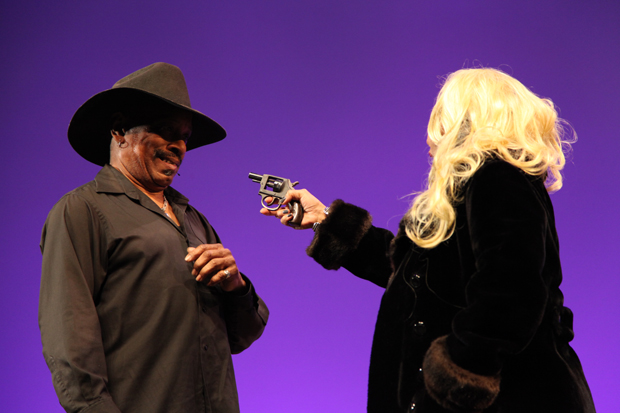 "Bodacious Buggerrilla members DaShell Hart and Barbara Lewis at the Getty Center in a scene from ""Killer Joe"""