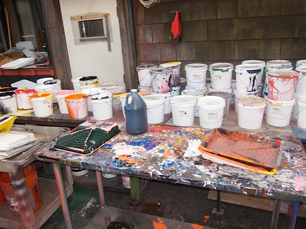 Paints and materials in Ed Moses' studio, December 18, 2011