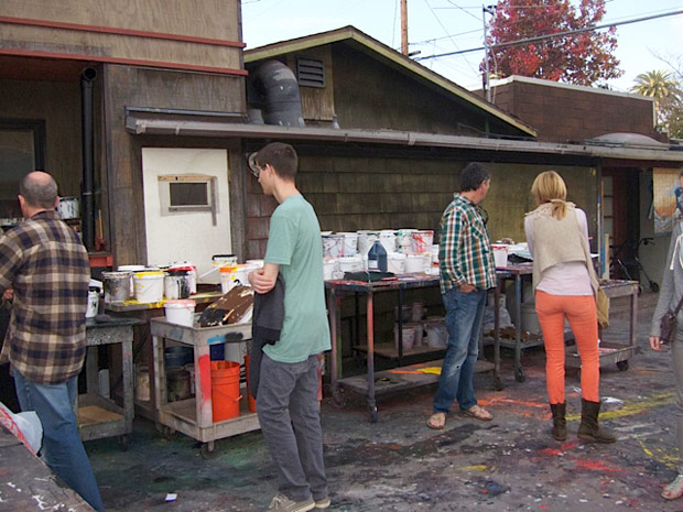 Course participants explore Ed Moses' studio, December 18, 2011