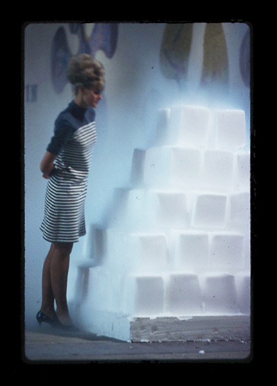 A visitor admires one of the original Disappearing Environments structures in 1968. Photo: Lloyd Hamrol