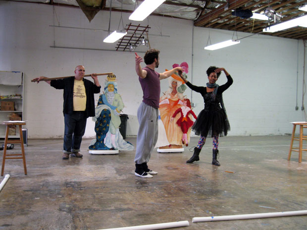 Left to right: Matthew Henerson, Jonathan Le Billon, and Daniele Watts rehearsing for Eleanor Antin's Before the Revolution.