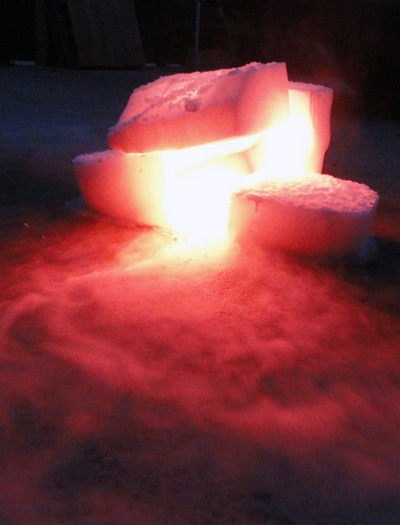 Experimenting with dry ice and flares at Judy Chicago's dry ice workshop. Photo: Donald Woodman