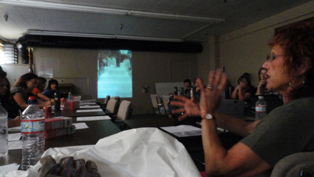 Judy Chicago presenting the history of Disappearing Environments at a recent dry ice workshop. Photo: Donald Woodman