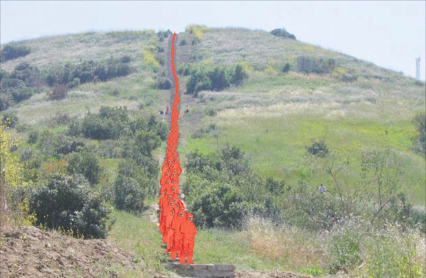 Hundreds of volunteers will dramatically transform the landscape for Lita Albuquerque's Spine of the Earth 2012.