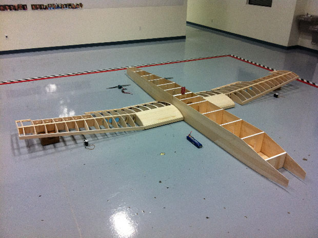 The model plane under construction for Richard Jackson's Accidents in Abstract Painting