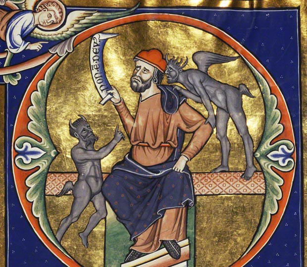 Detail of Initial D: The Fool with Two Demons / Master of the Ingeborg Psalter