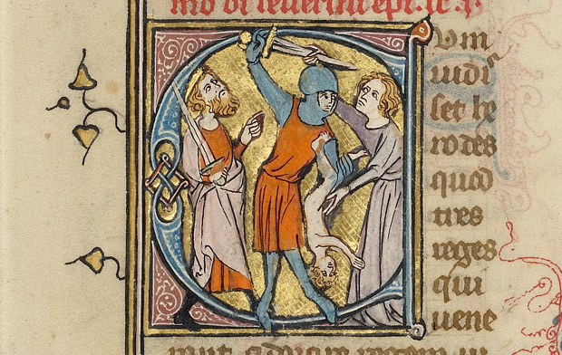 Soldier slaying a child, detail from Initial C: The Massacre of the Innocents in a breviary / French