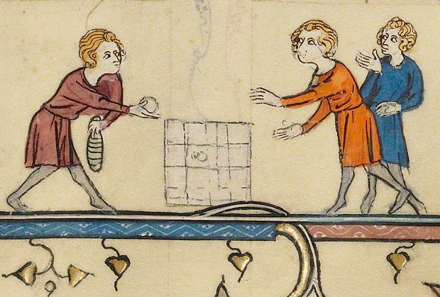 Boys playing a board game, detail from Initial C: The Massacre of the Innocents in a breviary / French