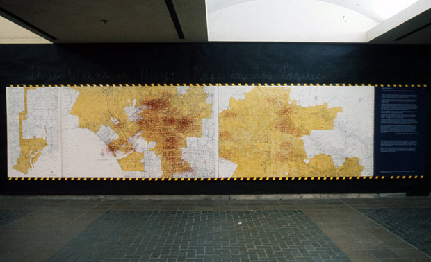 Suzanne Lacy's Rape Map at LAPD headquarters, May 1977. Each red stamp represents a rape reported to the LAPD.