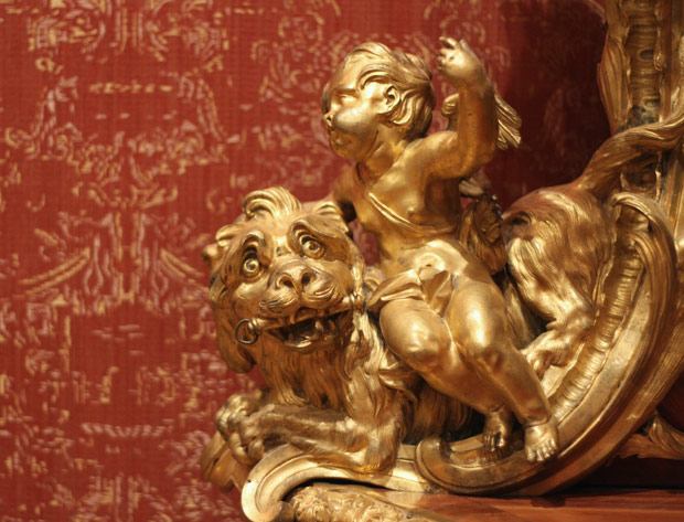 Detail of ormolu on Corner Cabinet / Jacques Dubois