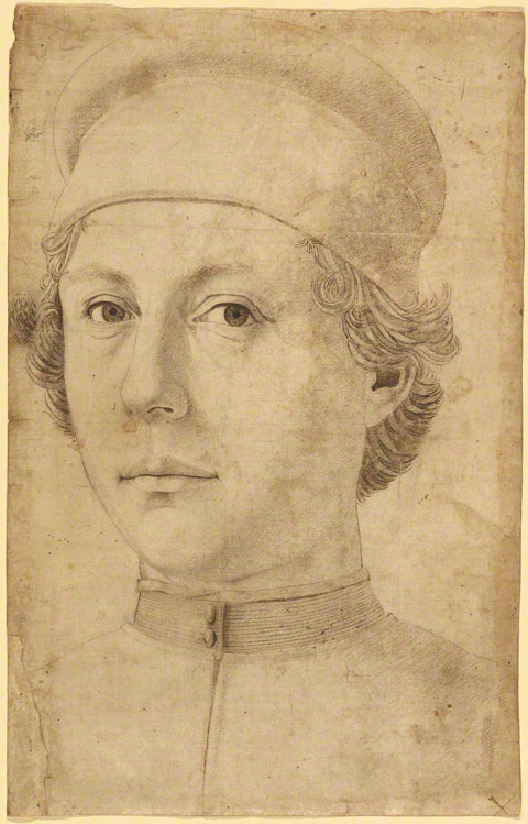 Portrait of a Young Man, Head and Shoulders, Wearing a Cap / Piero del Pollaiuolo