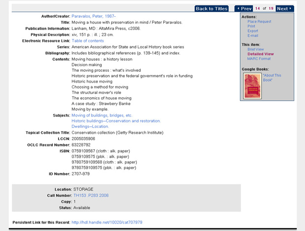 Item-level detailed results page in the Research Library Catalog - screenshot of new interface launched February 2012