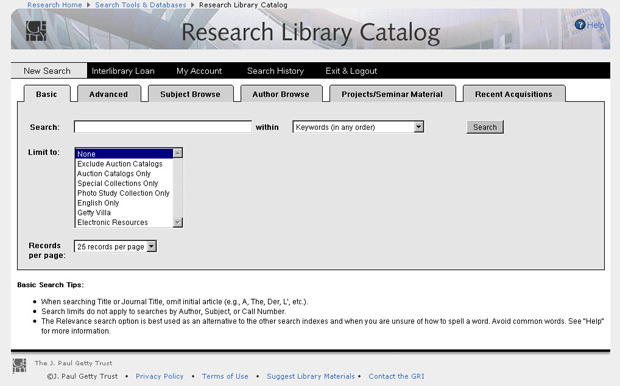 Research Institute Launches New Search Interfaces for Library Catalog and Photo Study Collection