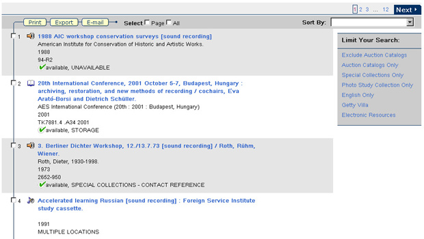 New results layout in the Research Library Catalog - screenshot of new interface launched February 2012