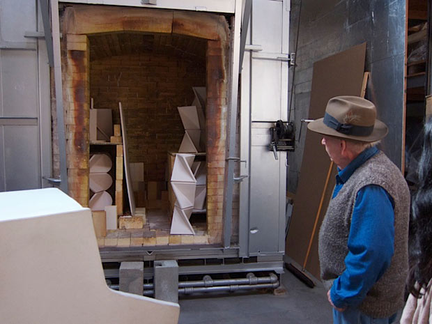 View into John Mason's studio kiln, January 8, 2012
