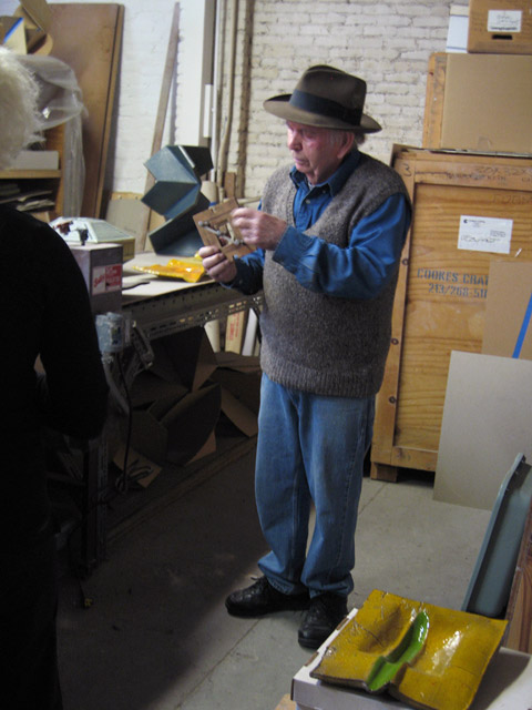 Artist John Mason in his studio, January 8, 2012