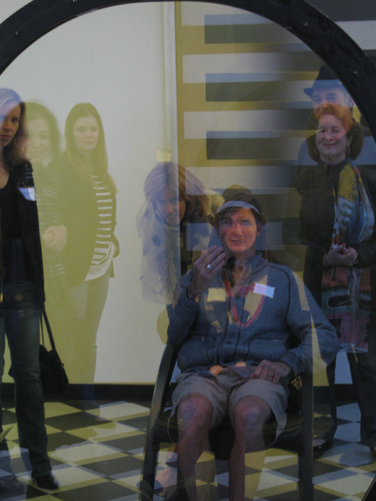 Course participants explore Larry Bell's sculpture Time Machine, January 22, 2012