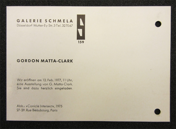 Galerie Schmela invitation to opening of Gordon Matta-Clark exhibition, 1977
