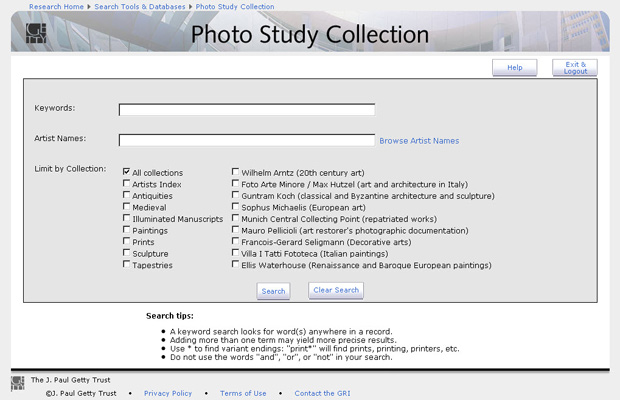 Photo Study Collection / PSC  - screenshot of new interface launched February 2012