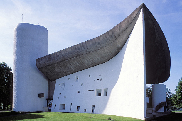 Le Corbusier's Chapel of Notre Dame du Haut in Ronchamp, France, designed in 1954