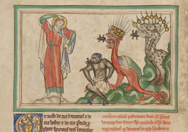 Unclean Spirits Issuing from the Mouths of the Dragon, the Beast, and the False Prophet the Getty Apocalypse / English