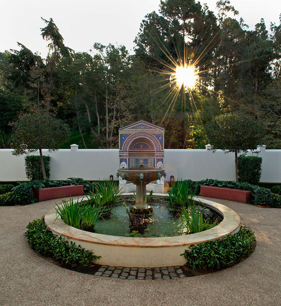 The East Garden at the Getty Villa at dusk